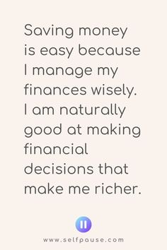 Enjoy this list of the top money-saving affirmations to help you focus on your money goals and save more money. Visit Selfpause for more affirmations. Wealth Affirmations, Positive Affirmations, Positive Quotes, Save My Money, Ways To Save Money, Hustle Quotes, True Quotes, Savings And Investment, Financial Success