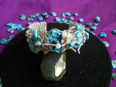 Woven Sterling Silver and Turquoise bracelet by CRoanCollections, $300.00