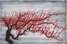 Zhang Xiaogang 张晓刚   Red Plum Tree   oil on canvas   200 x 300 cm   2011