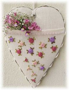 heart shaped scissor keeper. tiny flower embroidery