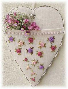 heart shaped scissor keeper. tiny flower embroidery