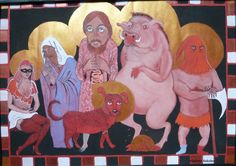 Santa Bestemmia or Ways to Cuss in Italian - left to right:  Madonna-Ladra-Putana, Madonna Impestata (Plagued), Dio Cane, Dio Buono (Good God) with Budello di Gesu' (guts of Jesus),   Porco Dio, Dio Boia (God Executioner), and last - but not least - #Holy #Shit. - by Viconart, 2011