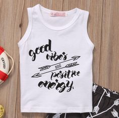 Good Vibes Sleeveless T-Shirt and Short Pants T Shirt And Shorts, Long Shorts, Baby Boy Clothing Sets, Baby Essentials, Toddler Shoes, Bibs, Outfit Sets, Boy Fashion, Boy Outfits