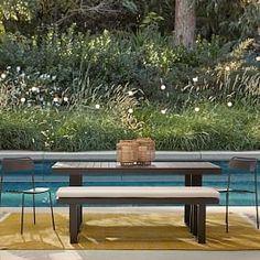 west elm Portside Dining Bench Outdoor Cushions- Sunbrella® Fabrics west elm Portside Dining Bench O Sunbrella Outdoor Cushions, Lounge Chair Cushions, Sunbrella Fabric, Outdoor Sectional, Outdoor Fabric, Concrete Outdoor Dining Table, Dining Bench, Small Lounge, Outdoor Cushion Covers