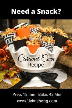 How to Make Caramel Corn lizbushong.com Caramel Corn Recipes, Caramel Apples, Fall Recipes, Baking Recipes, Snack Recipes, Candy Recipes, Drink Recipes, How To Make Caramel, Appetizers For A Crowd