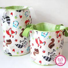 toller Kundenauftrag - große und kleine Spielzeugtasche für das Kinderzimmer <3 #naehfein #kinderzimmer #fuchs #spielzeugtasche #ordnung #gruen