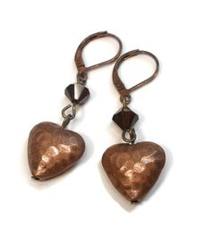 Heart Earrings  Hammered Copper Heart and by designsbylaurie
