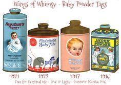 Wings of Whimsy: Vintage Baby Talcum Tags #vintage #printable #freebie #ephemera #talcum #tags #baby
