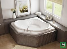 A Beautiful Bathroom Begins With This Maax Nancy 54 X 54 Corner Soaker Bathtub Equipped With Two Jacuzzi Tub Bathroom Corner Jacuzzi Tub Jacuzzi Bathtub