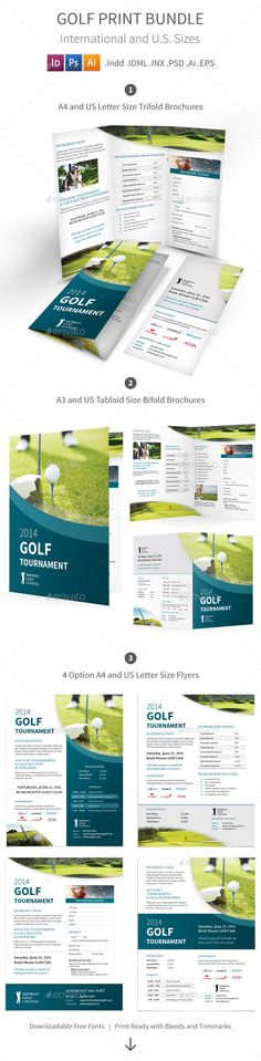 Golf Tournament Print Bundle Informational Brochure Template by Mike_pantone. Design Brochure, Brochure Template, Stationery Design, Stencil Templates, Print Templates, Design Templates, Golf Websites, Sports Graphics, Layout