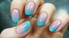Turquoise and nude gradient nail art