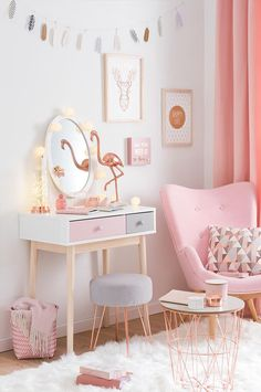 Pink and white nursery decor | girls bedroom ideas and inspiration for home decorating| Tendance déco Modern Copper – Joli boudoir | Maisons du Monde