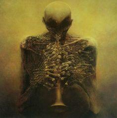 """""""The horn player"""" by Beksinski"""