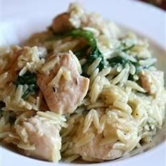"""Garlic Chicken with Orzo Noodles 
