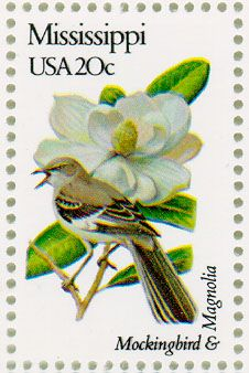 ◙ Mississippi Postage Stamp featuring the state Flower and Bird. ◙