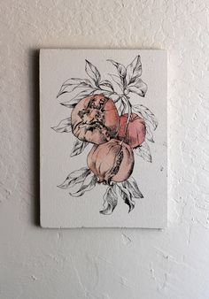 Original Drawing. Autumn Botanical art - Ripe Pomegranates - Black Ink Drawing. Feng Shui Art. Nursery Art. Fall Decor. House Decorations