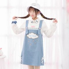 Mori Witches Spring Denim Overalls Sweet Rainy Patch Dress make you cuter and cuter.