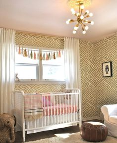Great wallpaper in baby's room by Relativity Textiles