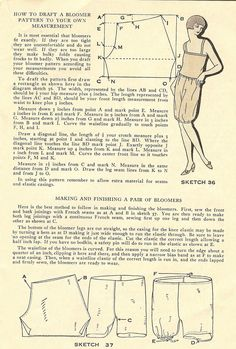 1928. How to draft a bloomer pattern to your own measurement. Easy Ways to Pretty Frocks by the Spool Cotton Company NY.