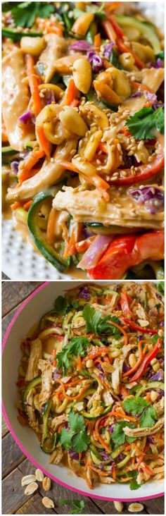 Peanut chicken zucchini noodles is an easy and healthy dinner with plenty of fresh vegetables, chicken, and a delicious peanut sauce! All clean eating ingredients are used for this healthy dinner recipe. Peanut Chicken, Chicken Zucchini, Healthy Chicken, Sesame Chicken, Zoodle Recipes, Spiralizer Recipes, Veggie Noodles, Zucchini Noodles, Chicken Noodles