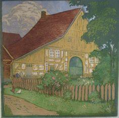 Hélène Mass (German, 1871- ). House with picket fence. c. 1920. Color woodcut.