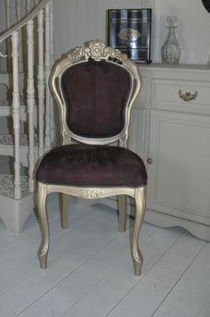Vintage Restored Chocolate Suede Chair - GHOST FURNITURE
