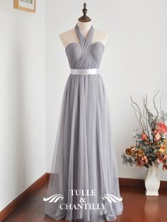 fall wedding ideas - convertible grey tulle bridesmaid dresses with silver belt