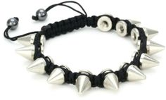 Very Me Silver Plated Spike Black Cord Braided Bracelet Very Me. $66.00. Items that are handmade may vary in size, shape and color. Made in USA