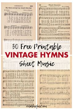 30 FREE printable vintage hymns sheet music pages! Perfect for numerous DIY craft projects, one-of-a-kind wall art home decor, and sheet music books. Sheet Music Crafts, Sheet Music Book, Vintage Sheet Music, Vintage Sheets, Music Books, Sheet Music Decor, Music Music, Music Sheets, Gospel Music