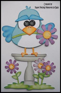Spring Bird Blue Set Premade Paper Piecing for Scrapbook Pages by Babs
