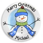 Blue Frosty Friend Plate - A perfect keepsake gift for a special child to celebrate Christmas. This hand painted plate is personalized with the child's name. Up to 8 words can be added to the back of the plate creating an everlasting message to the recipi