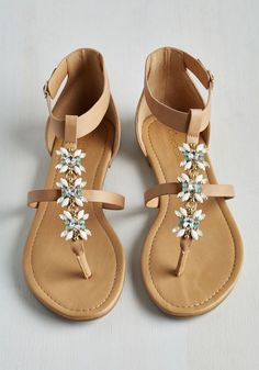 Snazzy Fresh Strut Sandal. Your gait looks all the more glamorous every time you buckle into these expertly embellished beauties! #tan #modcloth