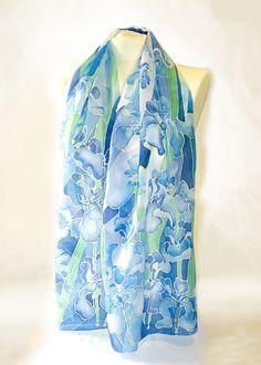 Silk scarf  IRIS scarf   hand painted scarves  silk scarves
