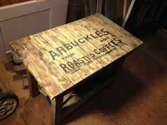 Rustic pallet wood side table. Pallet ideas and pallet furniture By Scrapwork Designs.