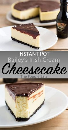 Instant Pot Bailey's Irish Cheesecake - Silky smooth, perfectly dense cheesecake with the undeniable flavor of sweet Irish cream pairs perfectly with a rich chocolate Oreo crust. Brownie Desserts, Oreo Dessert, Mini Desserts, Bon Dessert, Healthy Desserts, Oreo Crust Cheesecake, Baileys Cheesecake, Cheesecake Recipes, Dessert Recipes