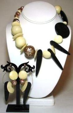 Large Chunky Necklace Earring Set Bone Wood MOP Mosaic Abstract Artisan Made | eBay