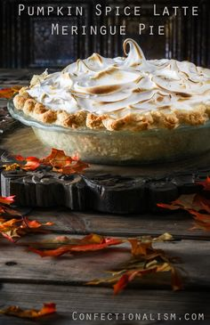 A Pumpkin Spice Latte in pie form, with a flaky, delicious pate brisee crust and a generous topping of swiss meringue.
