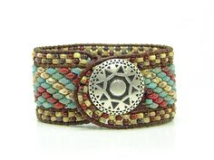 Your place to buy and sell all things handmade Beaded Leather Wraps, Leather Cord, Super Duo, Thing 1, Wrap Bracelets, Southwestern Style, Metal Buttons, Leather Jewelry, Picasso