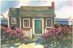 cape cod beach cottage | Cape Cod Watercolor Prints