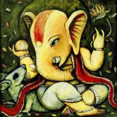 abstract paintings of lord ganesha Lord Ganesha Paintings, Ganesha Art, Jai Ganesh, Art Corner, Indian Paintings, Art Paintings, Hindu Art, Mural Art, Murals