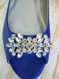 Blue Wedding Shoes 1/2 Inch Flat Peep Toe Crystal Bling Bridal Bride Bridesmaid Wedding Over 100 Colors Sapphire Blue Something Blue Wedding. $154.00, via Etsy.