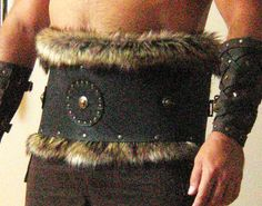 Medieval Barbarian Viking Goth Leather Belt Armor with Fur