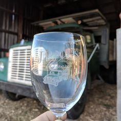 The Tasting Experience wine glass takes inspiration from one of our long working trucks, a 1969 International. It still helps haul composting woodchips to our fields with tender Christmas trees and many other tasks. Wine Tasting Glasses, Winery Logo, Composting, Tasting Room, Christmas Trees, White Wine, Wines, Fields, Wine Glass