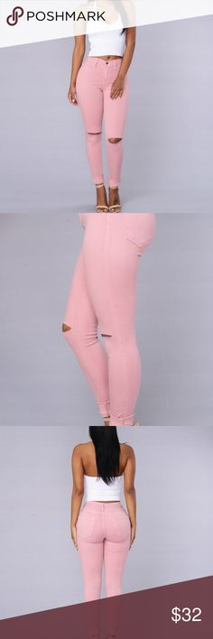 Fashion Nova Canopy Jeans Cute Rose/pink jeans with rips in the knees. High waisted for a slimming fit. Size 7 brand new with tags Fashion Nova Jeans