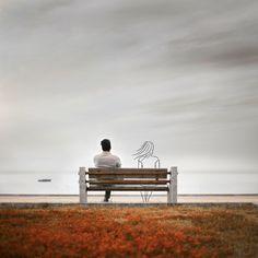""""""" - Est-ce que je suis envahissante ?"""" Romain Gary """" - I am intrusive? Loneliness Photography, Alone Photography, Romantic Couples Photography, Art Photography Portrait, Surrealism Photography, Dark Photography, Artistic Photography, Photo Backgrounds, Background Images"""