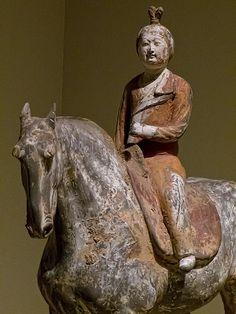 Closeup of Lady on horseback Tang Dynasty Shaanxi or Henan province China 675-750 CE earthenware