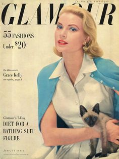 Grace Kelly and a feline friend on the cover of Glamour magazine, June 1955. #vintage #1950s #actresses #cats