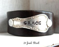 GRACE Hand Stamped Leather Cuff Bracelet $29.99