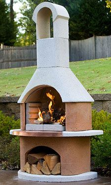 Easy-to-assemble outdoor fireplace/grill! http://www.fireplacemantelblog.com/outdoor-fireplace-kits.html