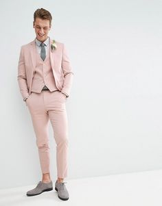 MOSS BROS | Moss London Wedding Skinny Suit Jacket In Light Pink Pink Prom Suit, Pink Suit Men, Wedding Tux, Wedding Music, Wedding Reception, Pink Tuxedo, Casual Grooms, Skinny Suits, Moda Masculina